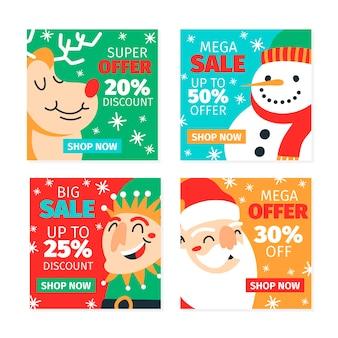 Coleção de venda de natal instagram post