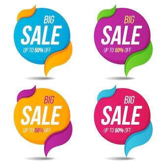 Coleção de venda etiquetas preço etiquetas banners adesivos emblemas modelos.