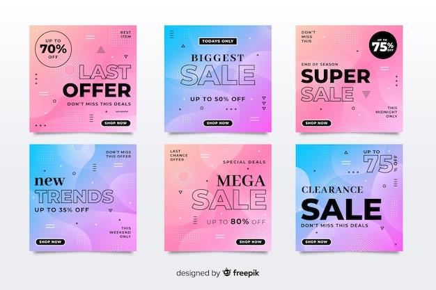 Coleção de venda gradiente de postagem do instagram