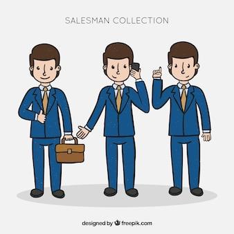 Coleção de vendedor em diferentes posições