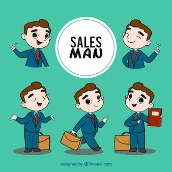 Coleção de vendedor em diferentes situações