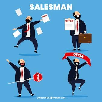 Coleção de vendedor em posições diferentes