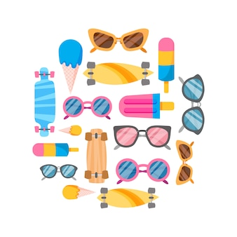 Coleção de verão de objetos.