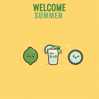 Coleção de verão design plano bebe coquetel de limão