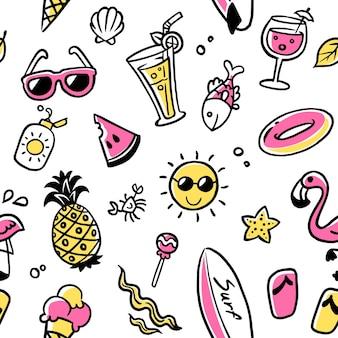 Coleção de verão sem costura padrão, ilustração de verão colorido doodle engraçado.