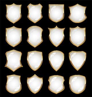 Coleção de vetor brilhante escudo preto e branco