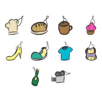 Coleção de vetor de ícone de etiqueta de tags de doodle de desenho animado
