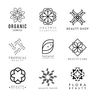 Coleção de vetor de logotipo de cosméticos orgânicos