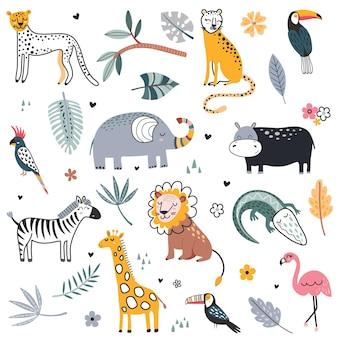 Coleção de vetor fofa de safari animais elefante perigoso jacaré gato selvagem