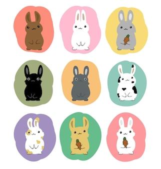 Coleção de vetores conjunto de desenhos animados de coelhos