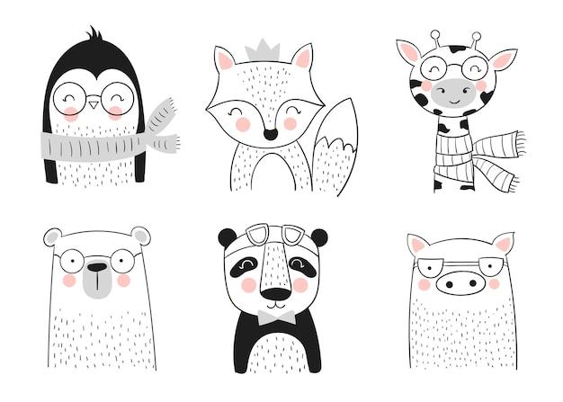 Coleção de vetores de animais bonitos desenhados à mão. banner com objetos adoráveis isolados no fundo. dia dos namorados, aniversário, salvar a data, chá de bebê, noiva, aniversário, decoração