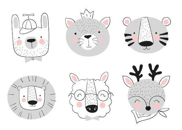 Coleção de vetores de animais bonitos desenhados à mão banner com objetos adoráveis isolados no fundo