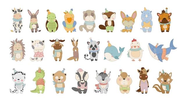 Coleção de vetores de animais fofos de desenhos animados personagens para livros infantis, cartões, adesivos impressos