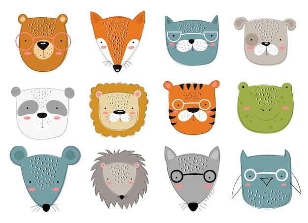 Coleção de vetores de animais fofos de doodle para crianças zoológico gráfico desenhado à mão