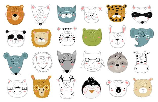 Coleção de vetores de animais fofos doodle para crianças. zoológico gráfico desenhado de mão. perfeito para chá de bebê, cartão postal, etiqueta, folheto, panfleto, página, design de banner