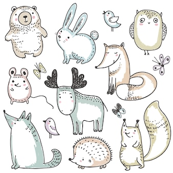 Coleção de vetores de animais selvagens da floresta desenhados à mão