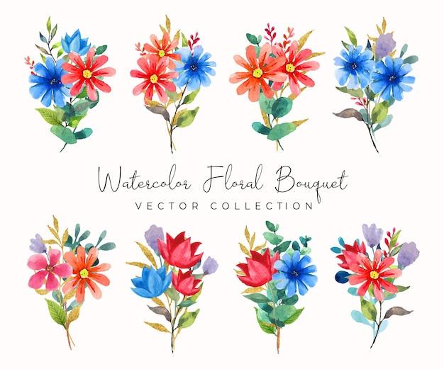Coleção de vetores de aquarela bouquet floral com flores vermelhas e azuis