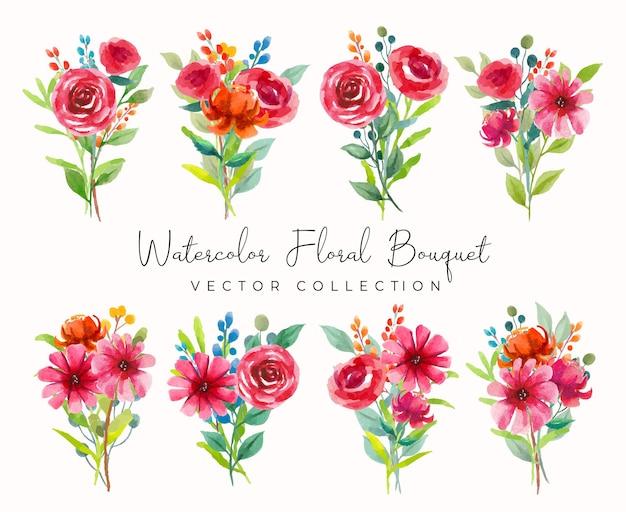 Coleção de vetores de aquarela bouquet floral com flores vermelhas e rosa