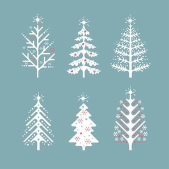 Coleção de vetores de árvores de natal escandinavas