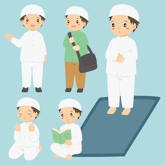 Coleção de vetores de atividades diárias de menino muçulmano