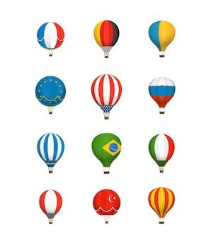 Coleção de vetores de balões de cores diferentes. bandeiras nacionais