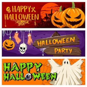 Coleção de vetores de banner de festa de halloween