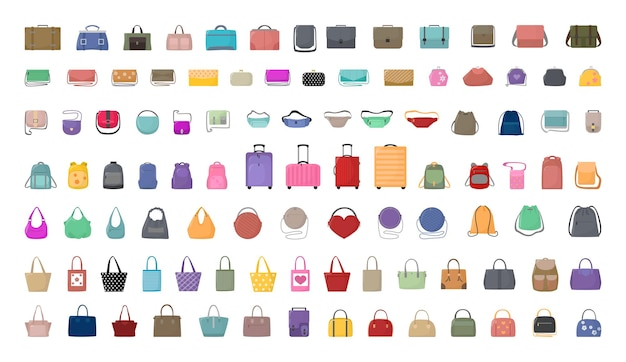 Coleção de vetores de bolsas coloridas, malas e mochilas.