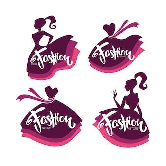 Coleção de vetores de boutique de moda e logotipo da loja, etiqueta, emblemas com silhuetas de senhora