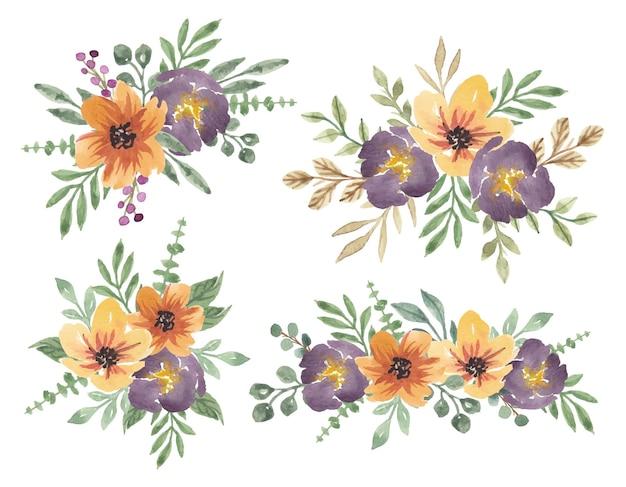 Coleção de vetores de buquê de flores em aquarela amarelo roxo