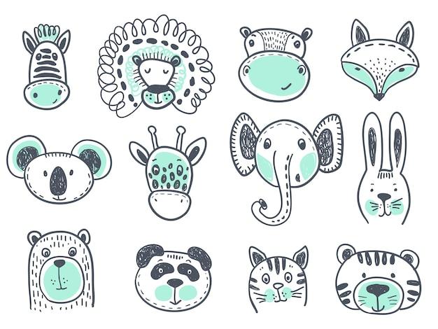 Coleção de vetores de cabeças de animais fofos para design de bebês e crianças