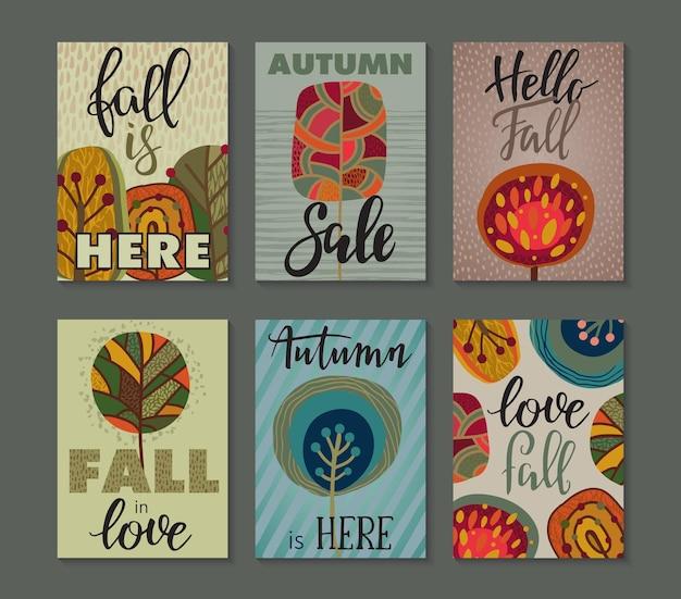 Coleção de vetores de cartas de outono. modelos de panfleto de outono com texto de letras de mão. árvores coloridas brilhantes e textura abstrata. cartaz, calendário, nota, etiqueta, cronograma, planejador, conjunto de design de banner.