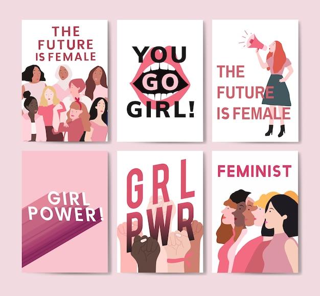 Coleção de vetores de cartaz de mensagem feminista