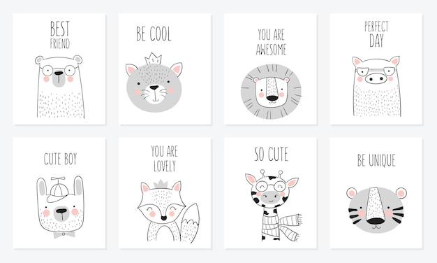 Coleção de vetores de cartões bonitos desenhados à mão animais e slogan