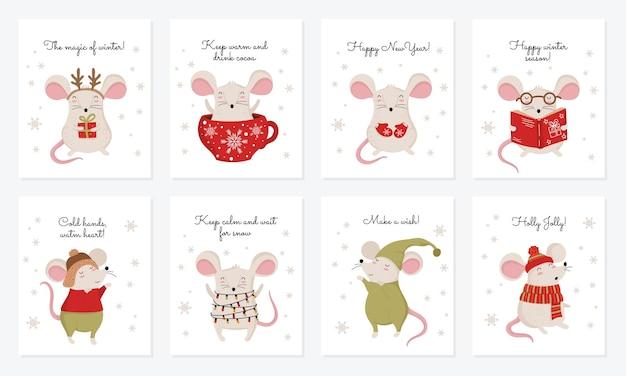 Coleção de vetores de cartões com a mão desenhando ratos bonitos de inverno em roupas aconchegantes
