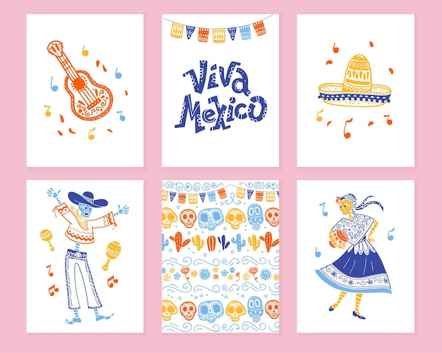 Coleção de vetores de cartões com decoração tradicional para festa dos mortos do dia do méxico, celebração do dia de los muertos em estilo desenhado de mão plana. letras de felicitações, guitarra, sombrero, esqueleto, padrão
