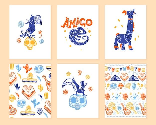 Coleção de vetores de cartões com decoração tradicional para festa dos mortos do dia do méxico, celebração do dia de los muertos em estilo desenhado de mão plana. papagaio, lhama, tucano, padrão com crânio, guitarra, sombrero.