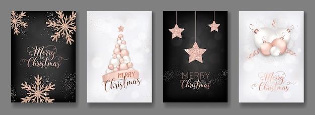 Coleção de vetores de cartões de feliz natal com brilho de ouro rosa, bolas de natal, estrela de panfleto de árvore de natal e brochura de ano novo 2019