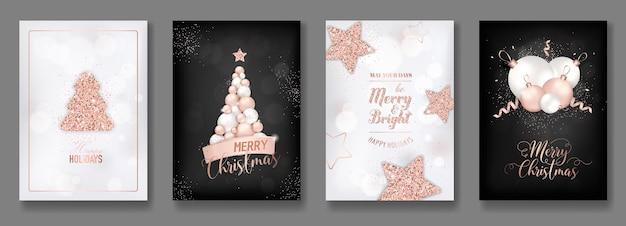 Coleção de vetores de cartões de feliz natal elegantes com brilhantes bolas de natal com glitter em ouro rosa, estrela de árvore de natal e folheto de ano novo 2019