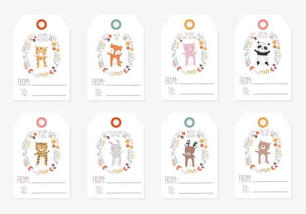 Coleção de vetores de cartões postais com animais rodeados por uma coroa de plantas com slogan de outono