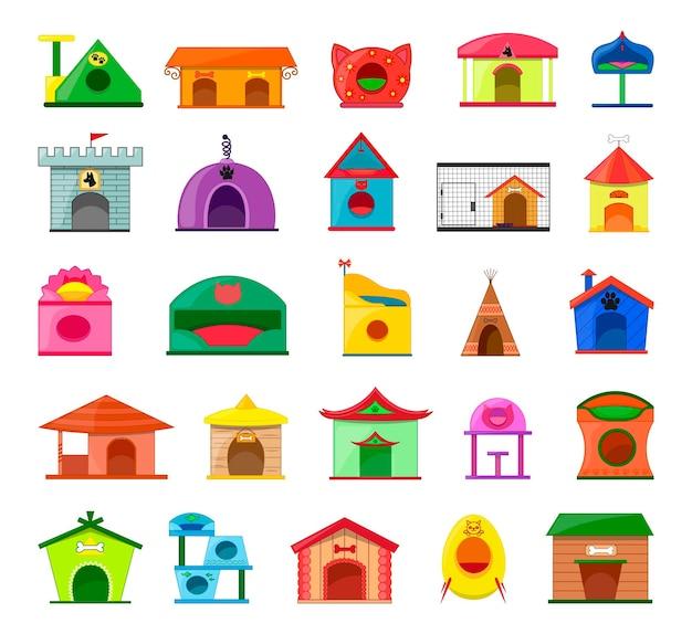 Coleção de vetores de casas coloridas para gatos, cachorros, hamsters, pássaros.