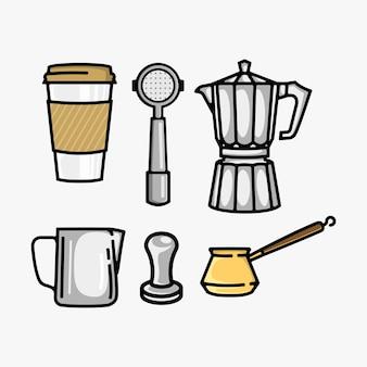 Coleção de vetores de conjunto de café Vetor Premium
