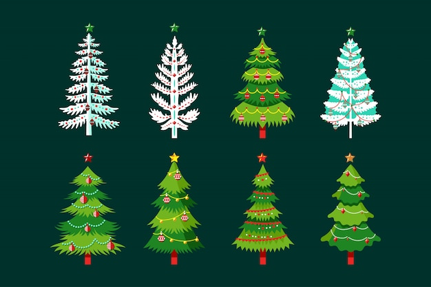 Coleção de vetores de desenhos animados de árvores de natal com floco de neve, lâmpadas e fitas