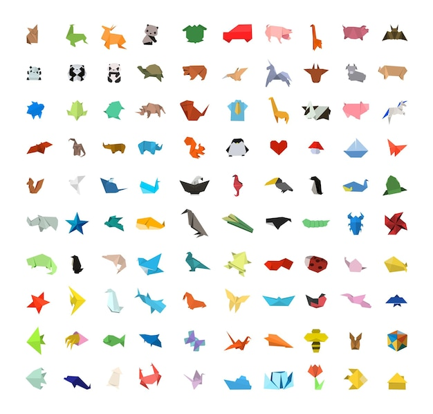 Coleção de vetores de diferentes estatuetas de origami.