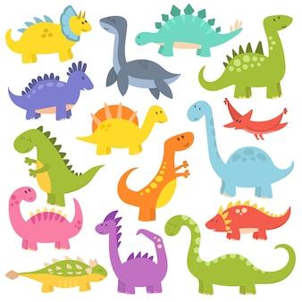 Coleção de vetores de dinossauros bonito dos desenhos animados