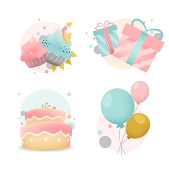 Coleção de vetores de distintivo de aniversário colorido