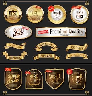 Coleção de vetores de etiquetas e emblemas dourados retrô