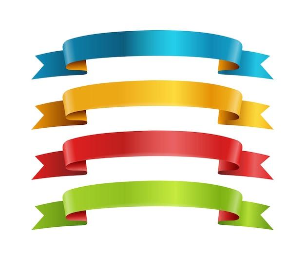 Coleção de vetores de fitas de cores diferentes. modelo de texto. coleção de banners isolada em branco