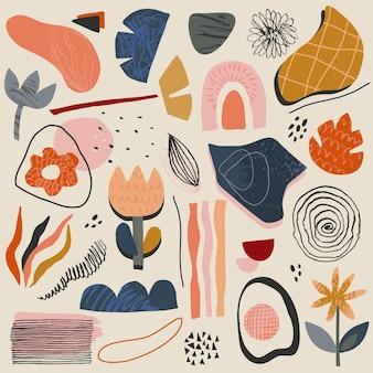 Coleção de vetores de formas abstratas e elementos geométricos com textura desenhada à mão