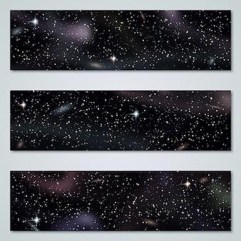 Coleção de vetores de fundo panorâmico de espaço