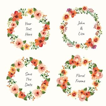 Coleção de vetores de grinalda floral em aquarela para design de primavera e verão